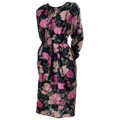 1980s Emanuel Ungaro Vintage Floral Dress 46/12 Sash Scarf