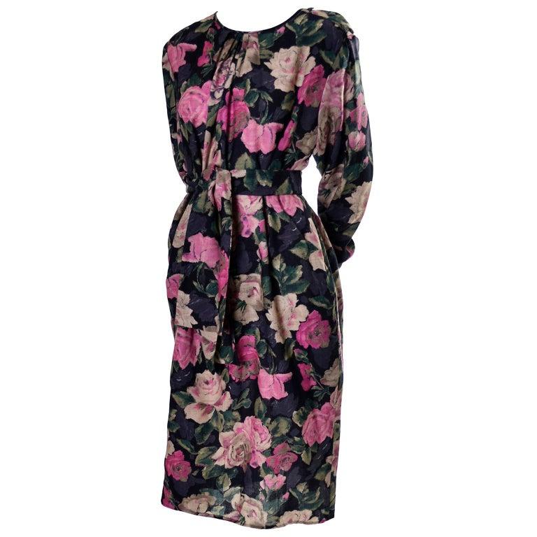 1980s Emanuel Ungaro Vintage Floral Dress 46/12 Sash Scarf For Sale