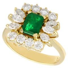 1980s Emerald 1.32 Carat Diamond Yellow Gold Cocktail Ring