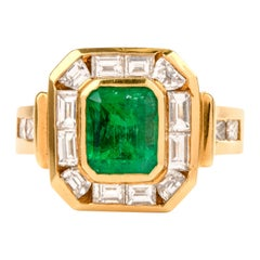 1980s Emerald Diamond 18 Karat Yellow Gold Cocktail Band Ring