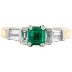 1980s Emerald with Diamonds Engagement Ring