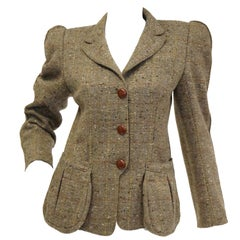 1980s Emmanuelle Khanh Camel Tweed Structured Blazer