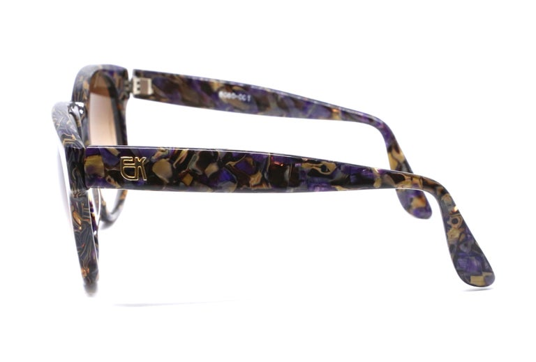 1980's EMMANUELLE KHANH oversized mosiac sunglasses In Excellent Condition For Sale In San Fransisco, CA
