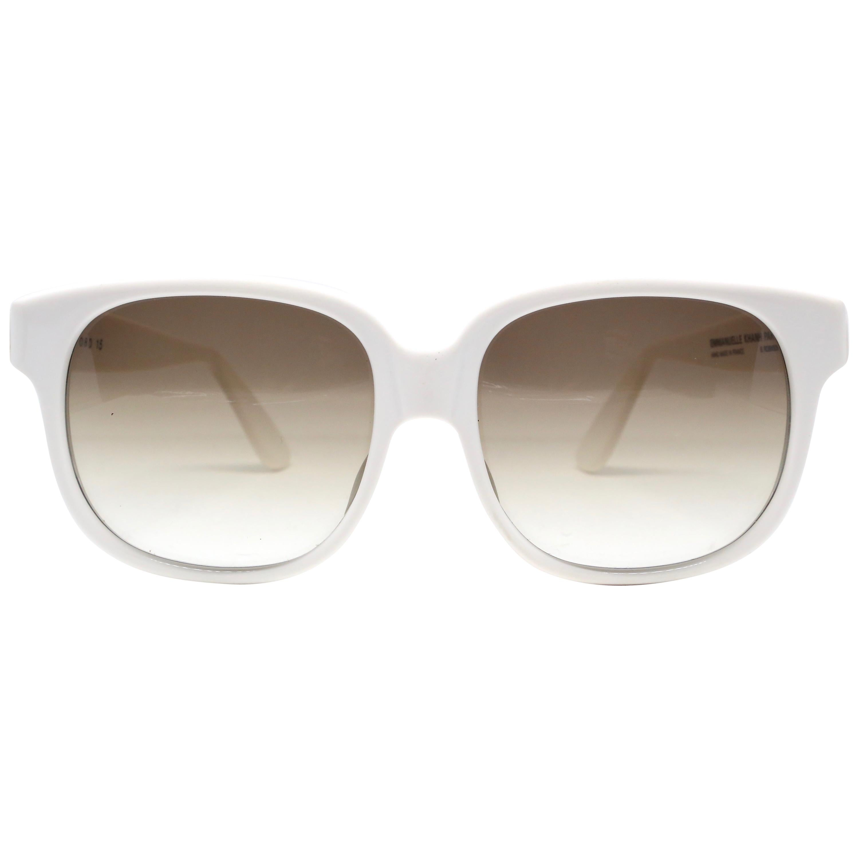 1980's EMMANUELLE KHANH oversized white plastic sunglasses