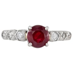 1980s Engagement Ring with Center Ruby Ring