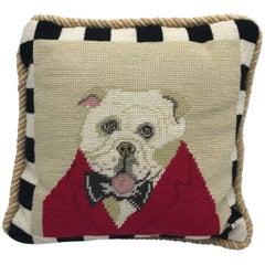 1980s English Bulldog Needlepoint Pillow