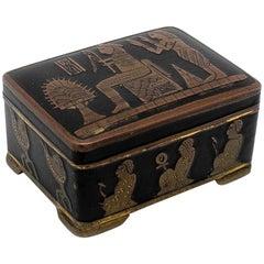 1980s English Metal Black Trinket Box with Egyptian Art Decoration