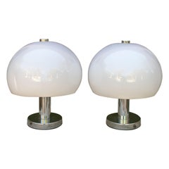 1980s English Pair of Metal Table Lamps with White Lamp Shade