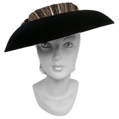 1980s Eric Javits Black Picture Hat With Gold Crown and Bow