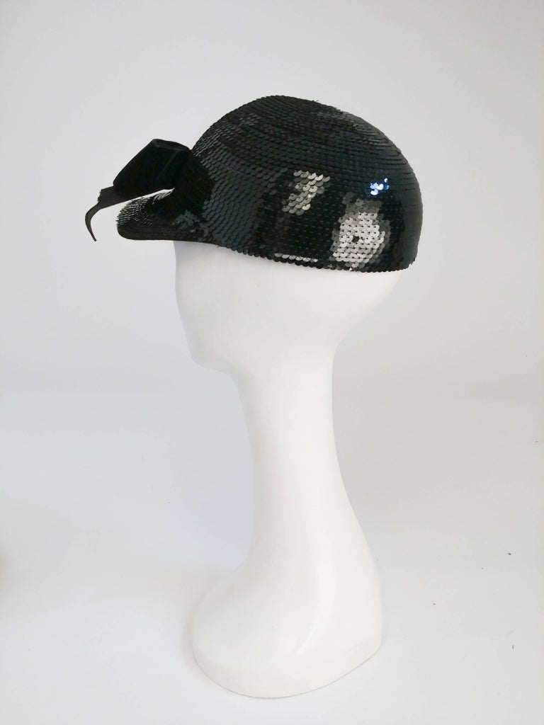 Eric Javits Black Sequin Cap with Velvet Bow, 1980s  In Good Condition For Sale In San Francisco, CA
