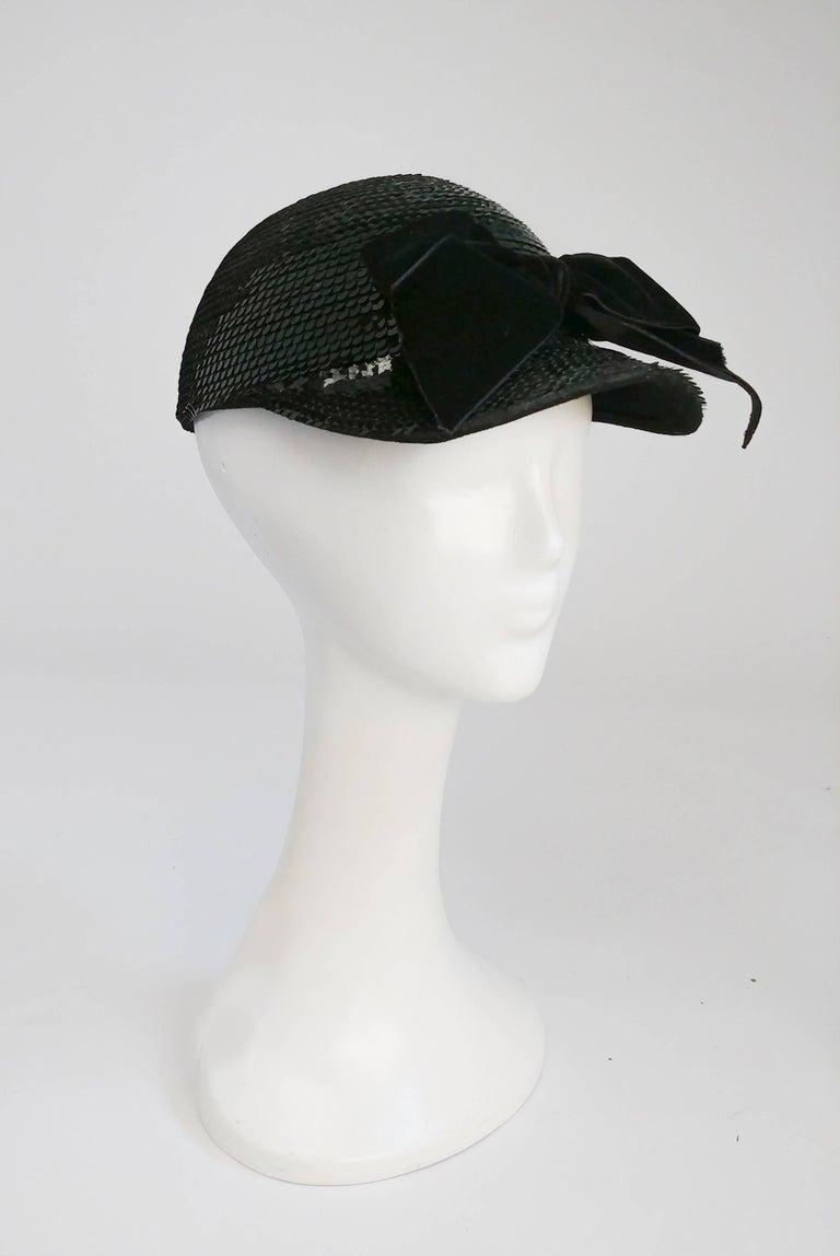 Women's or Men's Eric Javits Black Sequin Cap with Velvet Bow, 1980s  For Sale