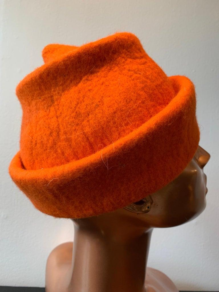 1980s Erratica by Jean Hicks Vibrant Orange Molded Wool Felt Pagoda Shaped Hat  For Sale 1