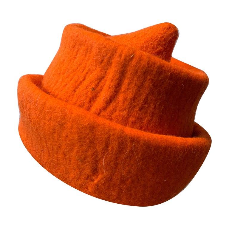 1980s Erratica by Jean Hicks Vibrant Orange Molded Wool Felt Pagoda Shaped Hat  For Sale