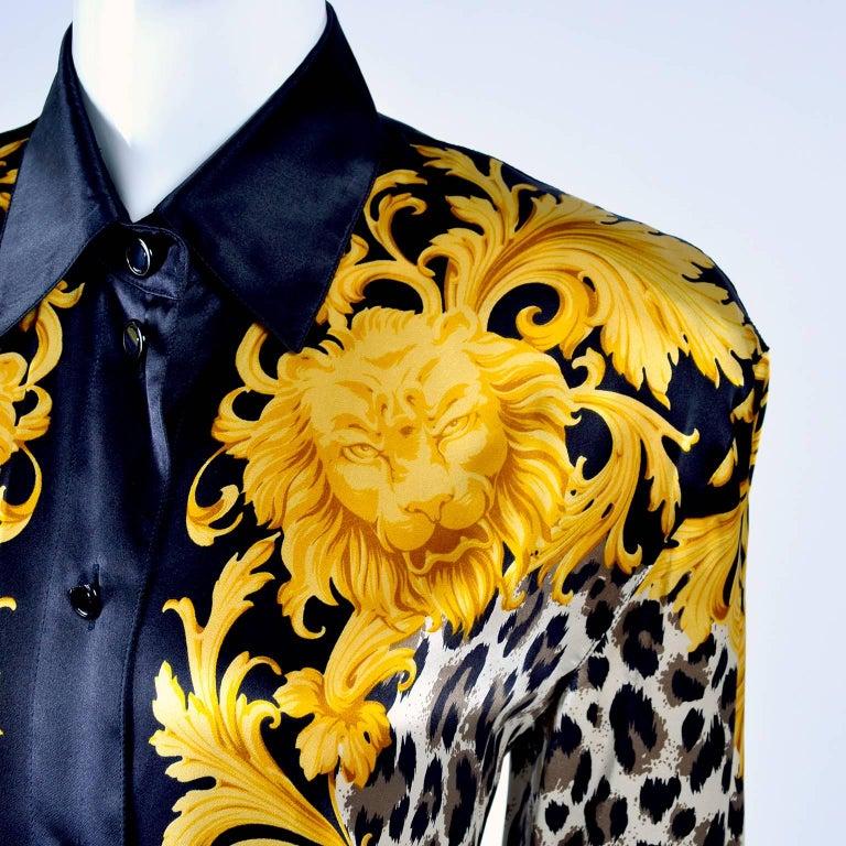 e0b305b7a87ba Black 1980s Escada Blouse in Silk Baroque Lion Animal Print Designed by Margaretha  Ley For Sale