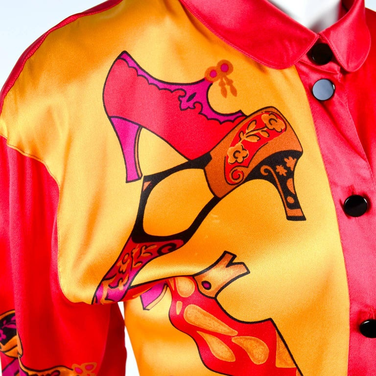 1980s Escada Blouse in Silk Novelty Print w Stylized Shoes in Red Pink and Gold In Excellent Condition For Sale In Portland, OR