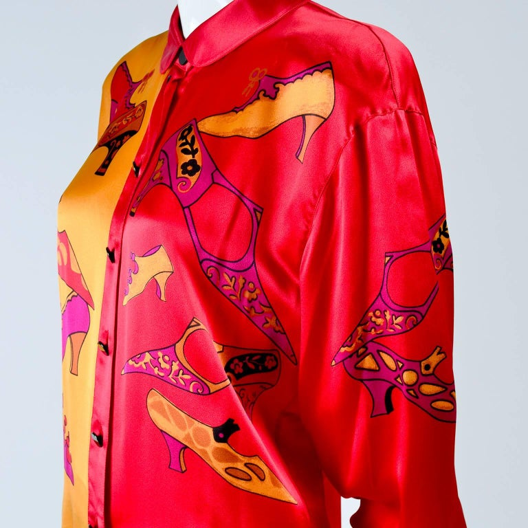 Women's 1980s Escada Blouse in Silk Novelty Print w Stylized Shoes in Red Pink and Gold For Sale