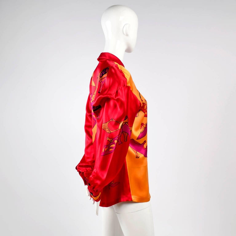 1980s Escada Blouse in Silk Novelty Print w Stylized Shoes in Red Pink and Gold For Sale 2