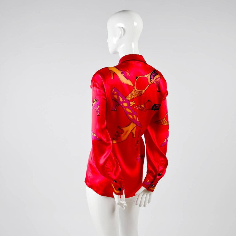 1980s Escada Blouse in Silk Novelty Print w Stylized Shoes in Red Pink and Gold For Sale 4