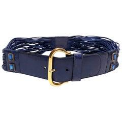 1980s Escada Bright Blue rhinestone suede leather fringe high waisted belt