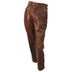 1990s Escada by Margaretha Ley Size 34 / US 2 4 Caramel Brown 80s Leather Pants