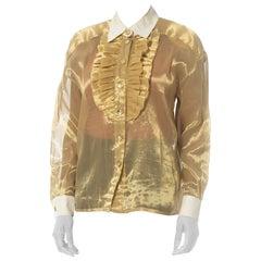 1980S Escada Gold Metallic Lamé Ruffle Tuxedo Shirt
