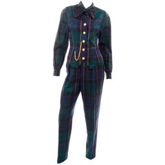 1980s Escada Margaretha Ley Green Plaid Pant Suit W Trousers Blouse Vest & Belt