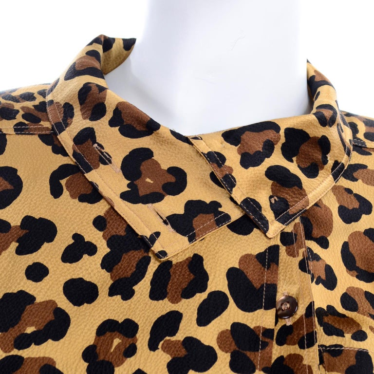 1980s Escada Margaretha Ley Silk Animal Print Blouse & Brown Wrap Skirt w/ Belt For Sale 5