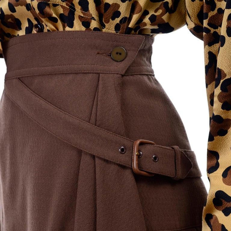 1980s Escada Margaretha Ley Silk Animal Print Blouse & Brown Wrap Skirt w/ Belt For Sale 6
