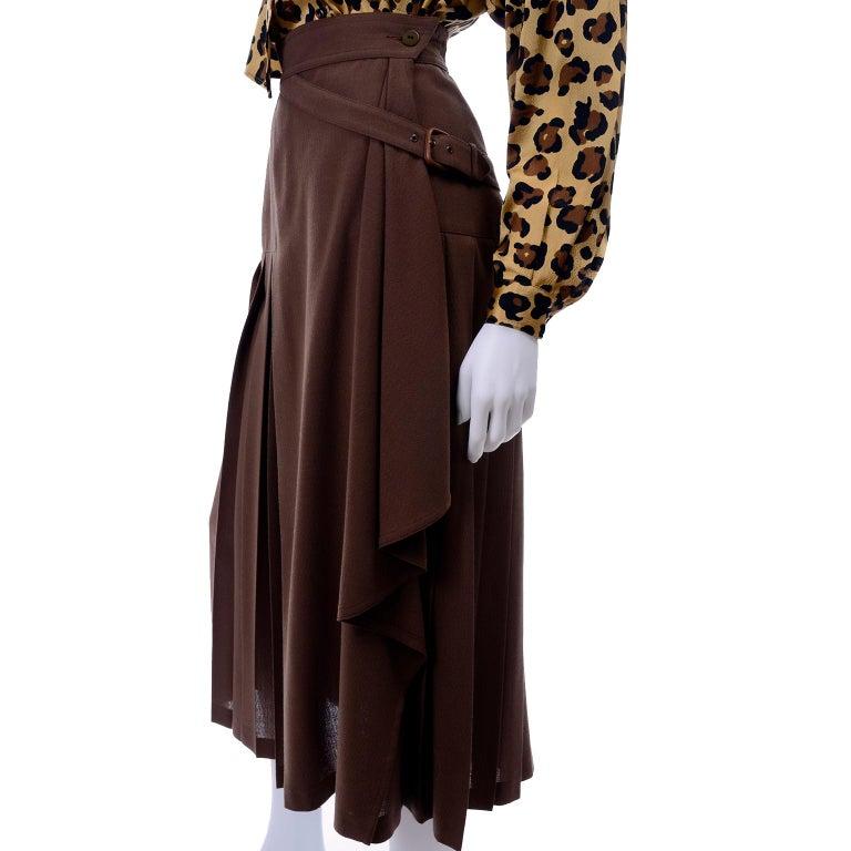 1980s Escada Margaretha Ley Silk Animal Print Blouse & Brown Wrap Skirt w/ Belt For Sale 7