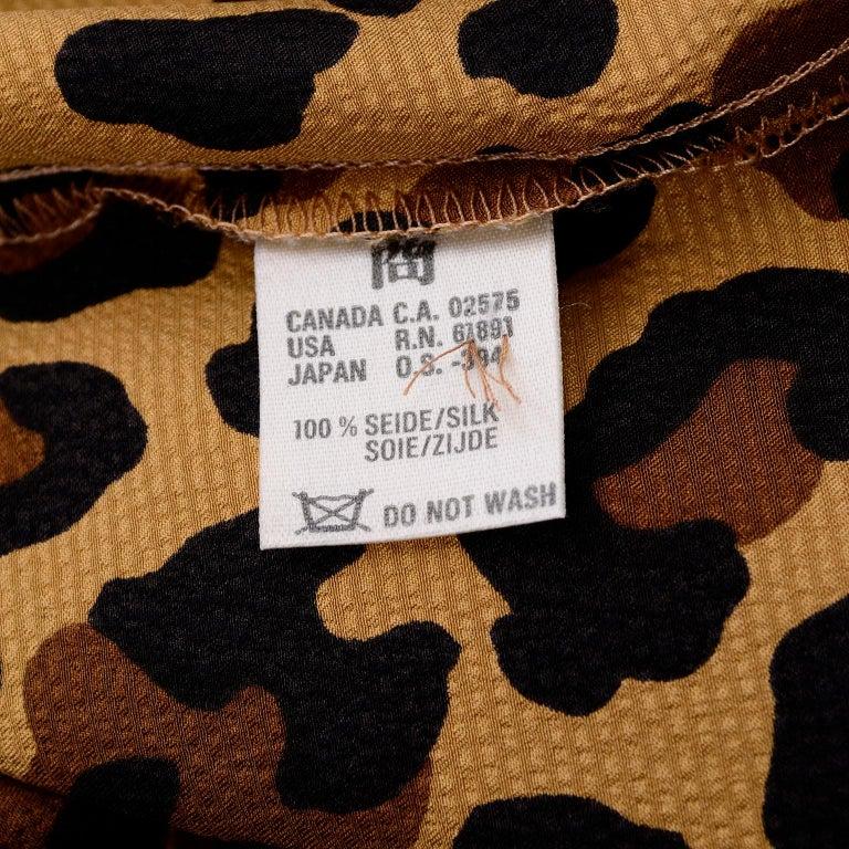 1980s Escada Margaretha Ley Silk Animal Print Blouse & Brown Wrap Skirt w/ Belt For Sale 8