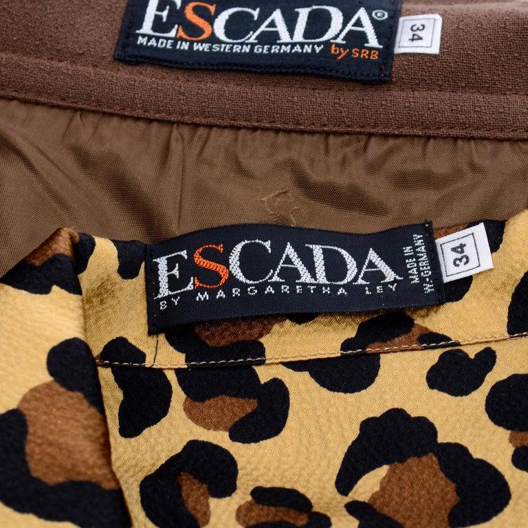 1980s Escada Margaretha Ley Silk Animal Print Blouse & Brown Wrap Skirt w/ Belt For Sale 9