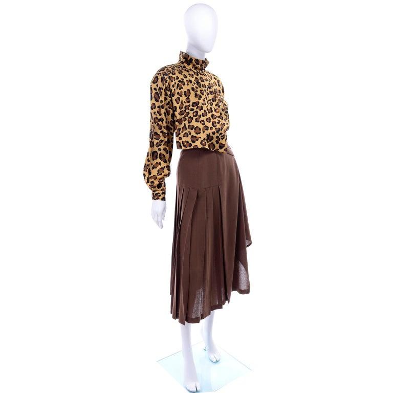 Black 1980s Escada Margaretha Ley Silk Animal Print Blouse & Brown Wrap Skirt w/ Belt For Sale