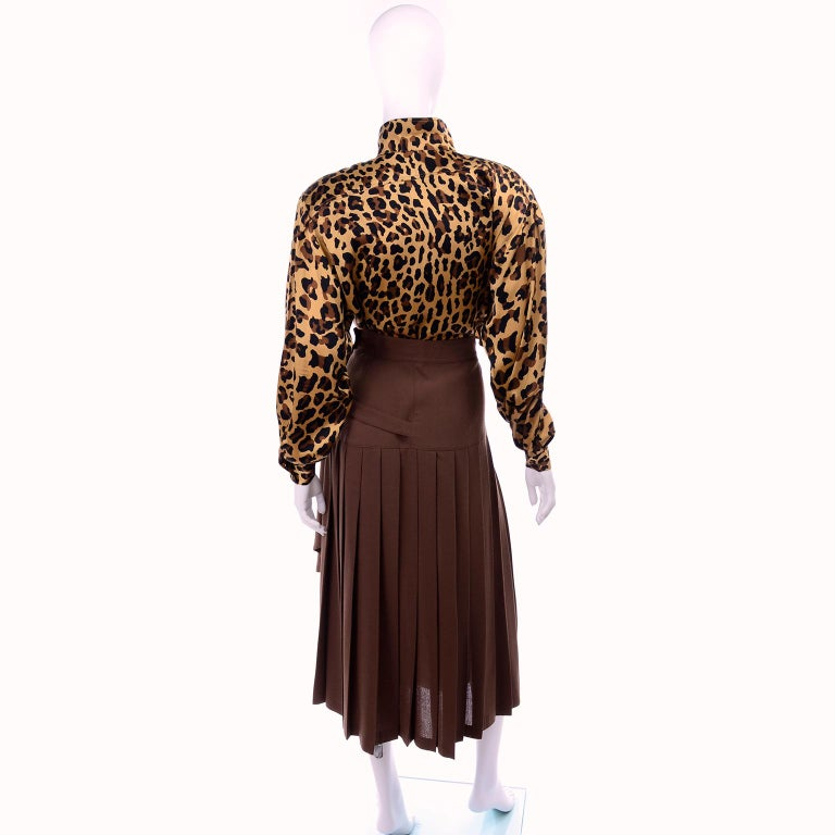 1980s Escada Margaretha Ley Silk Animal Print Blouse & Brown Wrap Skirt w/ Belt In Excellent Condition For Sale In Portland, OR