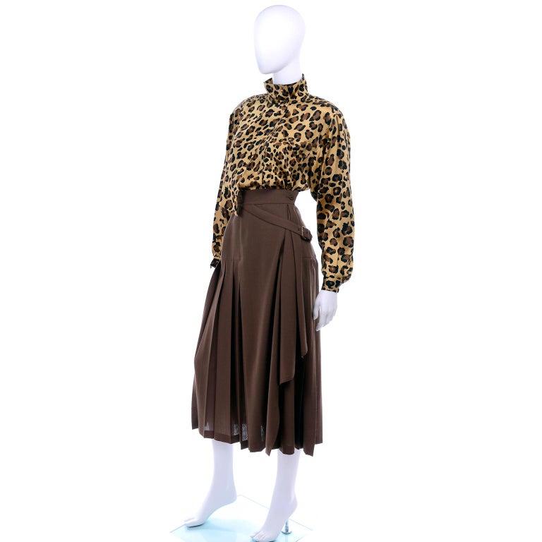 Women's 1980s Escada Margaretha Ley Silk Animal Print Blouse & Brown Wrap Skirt w/ Belt For Sale