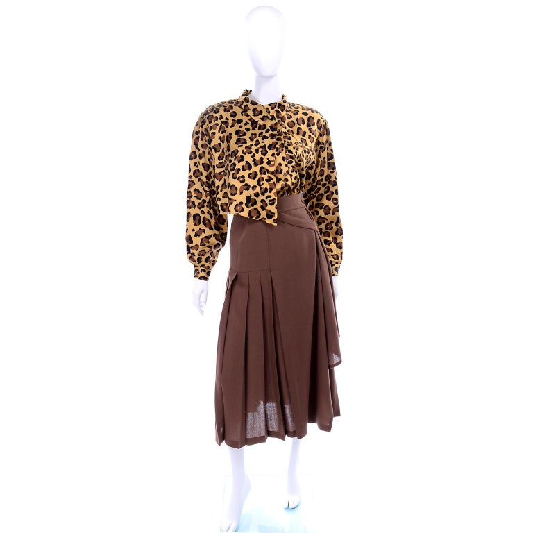 1980s Escada Margaretha Ley Silk Animal Print Blouse & Brown Wrap Skirt w/ Belt For Sale 1