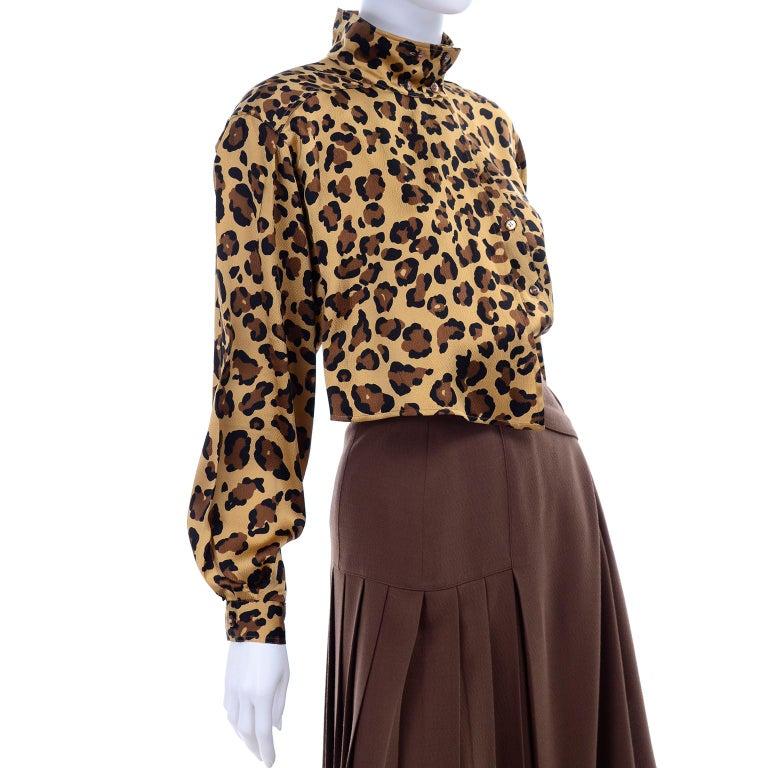 1980s Escada Margaretha Ley Silk Animal Print Blouse & Brown Wrap Skirt w/ Belt For Sale 2