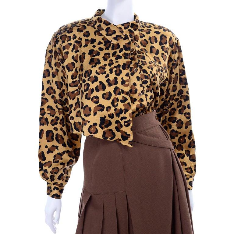 1980s Escada Margaretha Ley Silk Animal Print Blouse & Brown Wrap Skirt w/ Belt For Sale 3