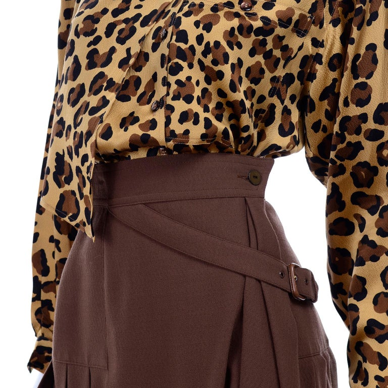 1980s Escada Margaretha Ley Silk Animal Print Blouse & Brown Wrap Skirt w/ Belt For Sale 4