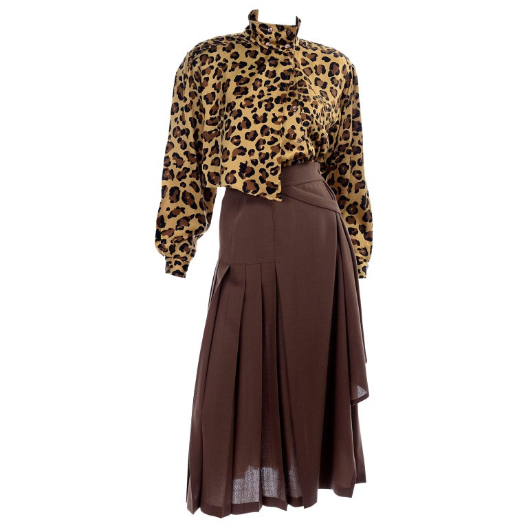 1980s Escada Margaretha Ley Silk Animal Print Blouse & Brown Wrap Skirt w/ Belt For Sale