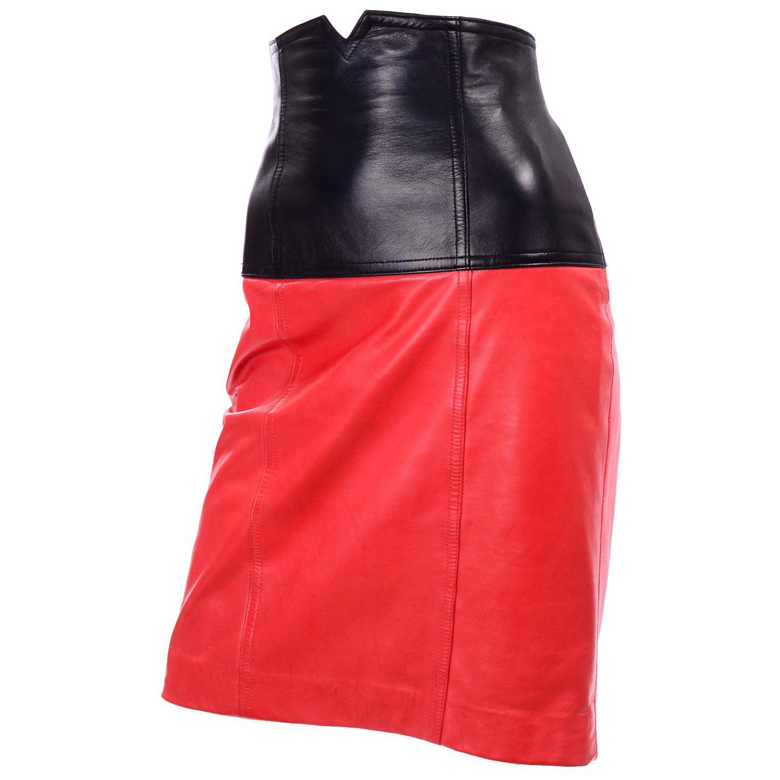 1980s Escada Margaretha Ley Vintage Red & Black Color Block Leather Skirt