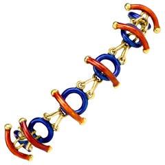 1980s Estate Italian Limited Edition 18 Karat Enamel Link Bracelet