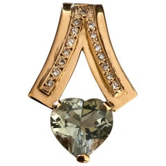 1980s Estate Mint Green Amethyst Diamond Pendant 18 Karat Gold