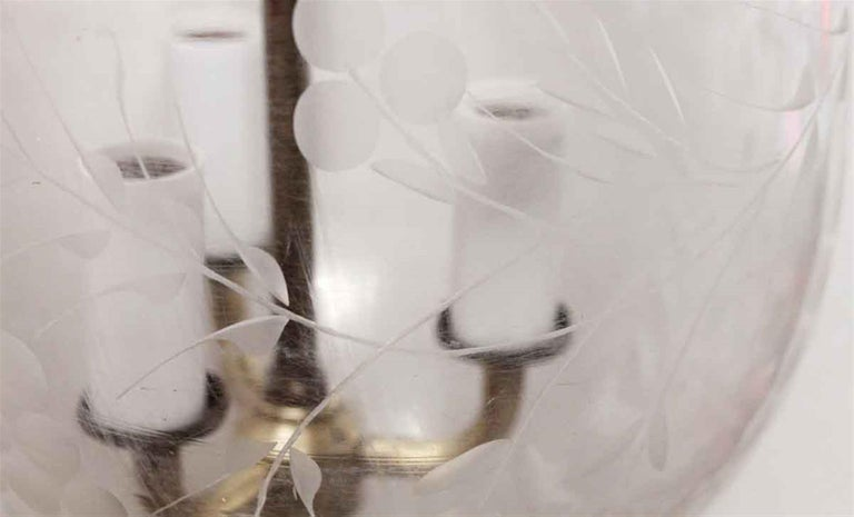 1980s Etched Clear Bell Jar Pendant Light For Sale 2