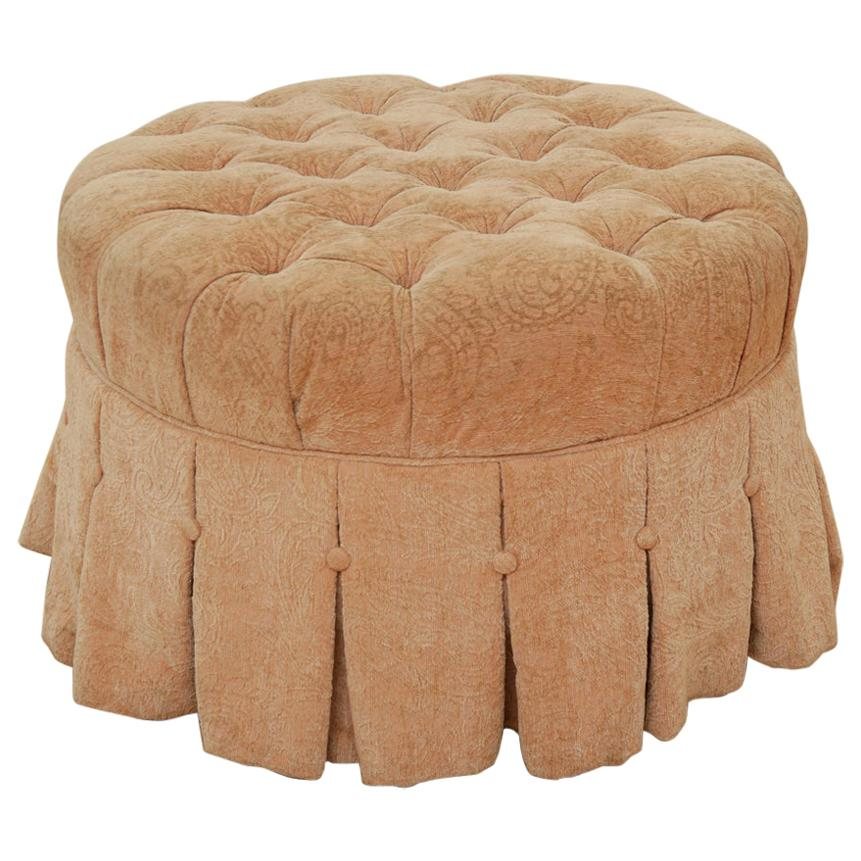 1980s Ethan Allen Tuffed Pink Ottoman/Coffee Table with Wheels