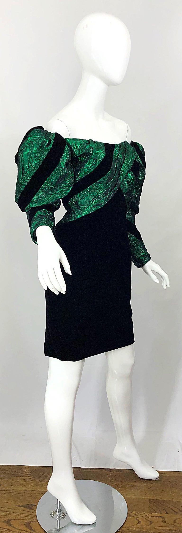 1980s Eugene Alexander Avant Garde Green + Black Vintage 80s Mini Dress For Sale 6