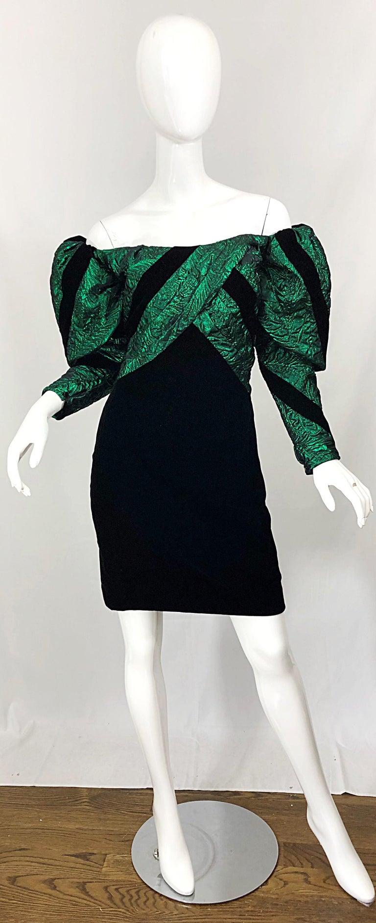 1980s Eugene Alexander Avant Garde Green + Black Vintage 80s Mini Dress For Sale 8