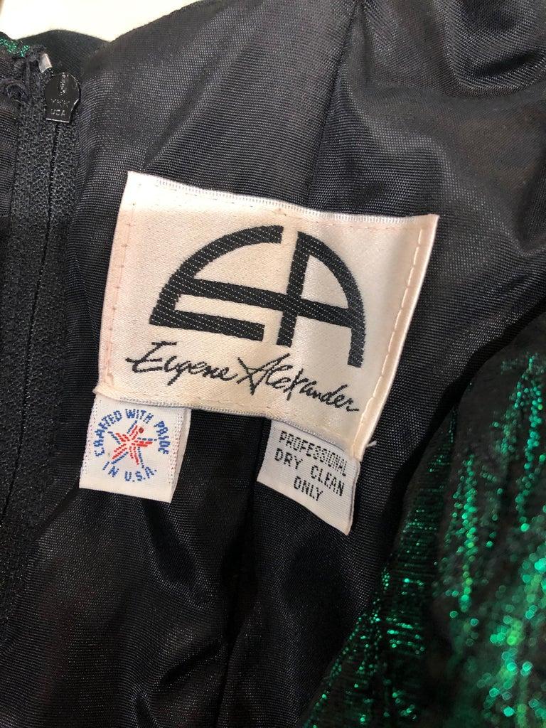 1980s Eugene Alexander Avant Garde Green + Black Vintage 80s Mini Dress For Sale 9