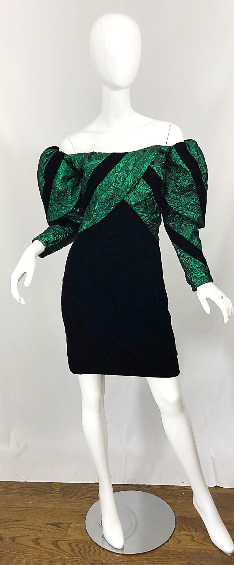 Avant Garde EUGENE ALEXANDER 1980s green silk brocade and black silk velvet off the shoulder mini dress! Features an off-the-shoulder bodice in a pretty green hue. Oversized pouf sleeves add just the right amount of volume. Soft black silk velvet