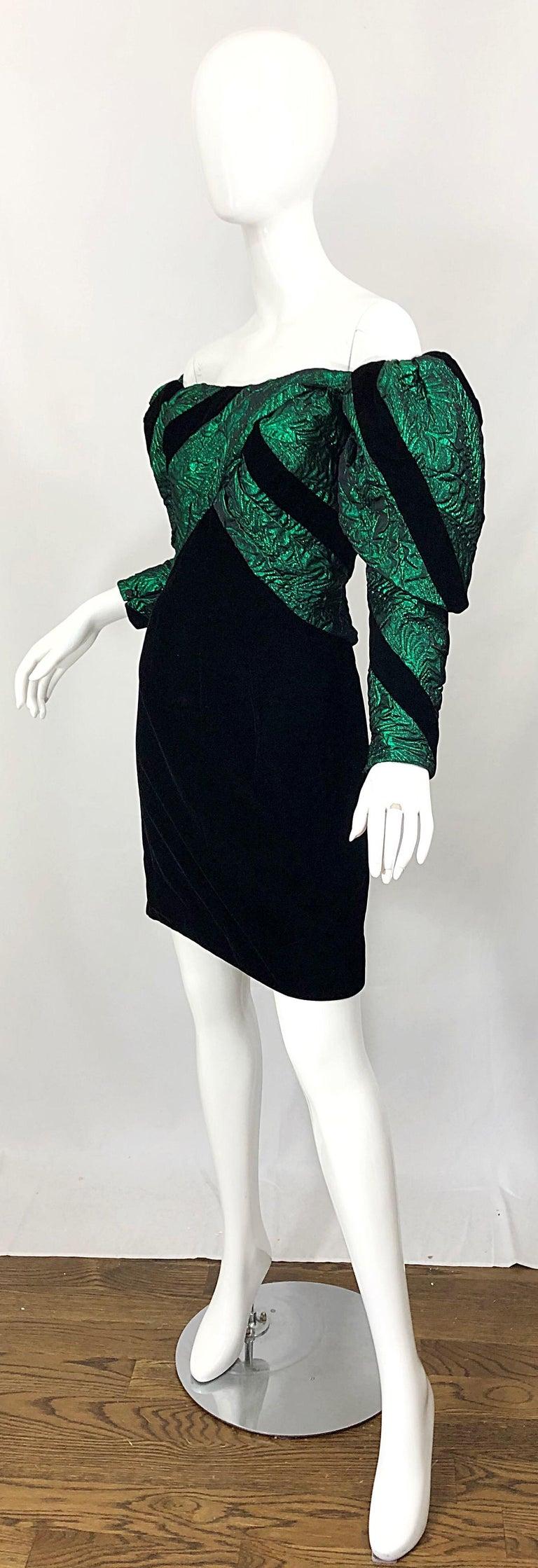 Women's 1980s Eugene Alexander Avant Garde Green + Black Vintage 80s Mini Dress For Sale
