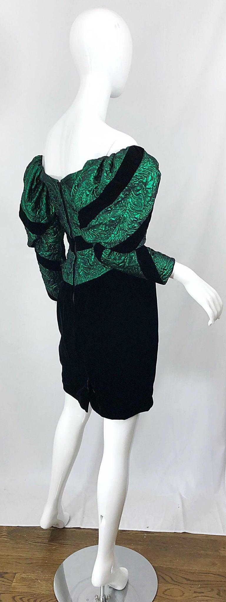 1980s Eugene Alexander Avant Garde Green + Black Vintage 80s Mini Dress For Sale 1